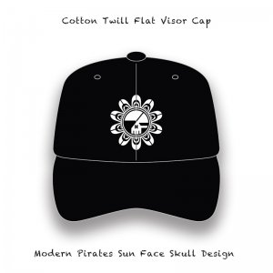 【 Cotton Twill Flat Visor Cap / Modern Pirates Sun Face Skull Embroidery Design 】