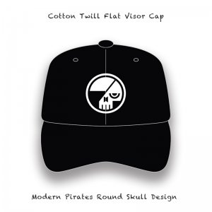 【 Cotton Twill Flat Visor Cap / Modern Pirates Round Skull Embroidery Design 】