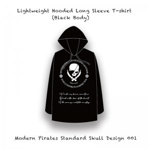 【 Long-Sleeved T-shirt with Hood / Modern Pirates Native Line Skull Design 】