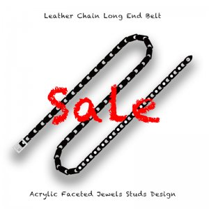 【 Leather Chain Long End Belt / Acrylic Faceted Jewels Studs Design 】 ( サンプル品 )