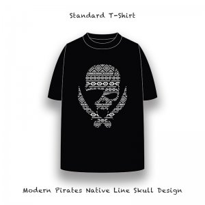 【 Standard T-Shirt / Modern Pirates Native Line Skull Design 】