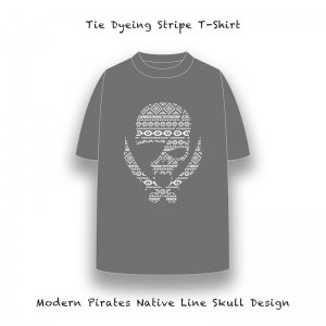 【 Tie Dyeing Stripe T-Shirt / Modern Pirates Native Line Skull Design 】