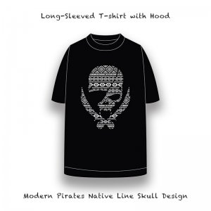 <img class='new_mark_img1' src='//img.shop-pro.jp/img/new/icons13.gif' style='border:none;display:inline;margin:0px;padding:0px;width:auto;' />【 Long Length T-Shirt / Modern Pirates Native Line Skull Design 】