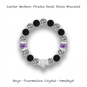 【 Center Modern Pirates Skull Stone Bracelet / Onyx・Tourmaline Crystal・Amethyst 】