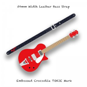 【 50mm Width Leather Bass Strap / Embossed Crocodile TOKIE Mark 】( TOKIE Model )