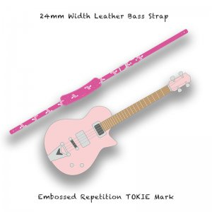 【 24mm Width Leather Bass Strap / Embossed Repetition TOKIE Mark 】( TOKIE Model )