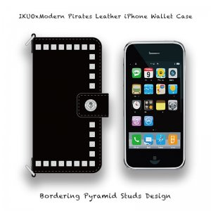 <img class='new_mark_img1' src='//img.shop-pro.jp/img/new/icons13.gif' style='border:none;display:inline;margin:0px;padding:0px;width:auto;' />【 IKUOxModern Pirates Leather iPhone Wallet Case / Bordering Pyramid Studs Design (Black) 】