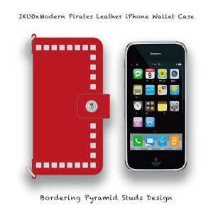 <img class='new_mark_img1' src='//img.shop-pro.jp/img/new/icons13.gif' style='border:none;display:inline;margin:0px;padding:0px;width:auto;' />【 IKUOxModern Pirates Leather iPhone Wallet Case / Bordering Pyramid Studs Design (Red) 】