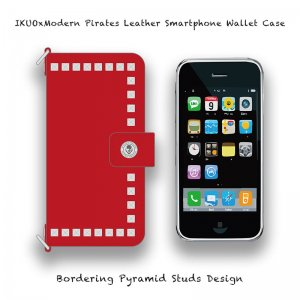 <img class='new_mark_img1' src='//img.shop-pro.jp/img/new/icons13.gif' style='border:none;display:inline;margin:0px;padding:0px;width:auto;' />【 IKUOxModern Pirates Leather Smartphone Wallet Case / Bordering Pyramid Studs Design  (Red) 】