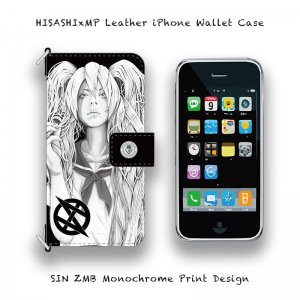 【 HISASHIxMP Leather iPhone Wallet Case / SIN ZMB Monochrome Print Design 】