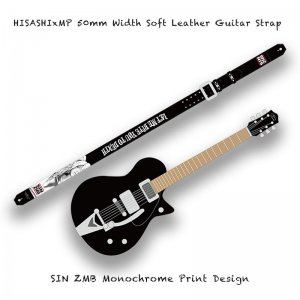 【  50mm Width Soft Leather Guitar Strap / SIN ZMB Monochrome Print Design 001 】( HISASHI Model )