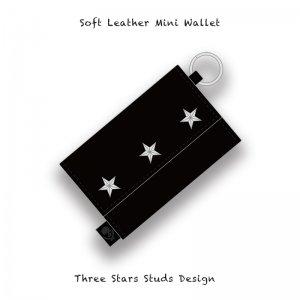 【 Soft Leather Mini Wallet /  Three Stars Studs Design 】