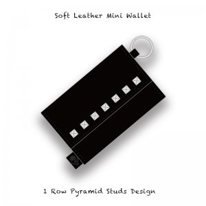 【 Soft Leather Mini Wallet /  1 Row Pyramid Studs Design 】