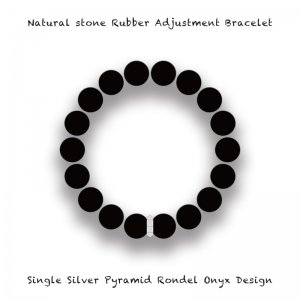 【 Natural Stone Rubber Adjustment Bracelet /  Single Silver Pyramid Rondel Onyx Design 】