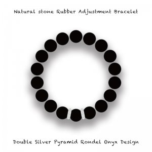 【 Natural Stone Rubber Adjustment Bracelet /  Double Silver Pyramid Rondel Onyx Design 】