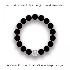 【 Natural Stone Rubber Adjustment Bracelet /  Modern Pirates Silver Charm Onyx Design 】