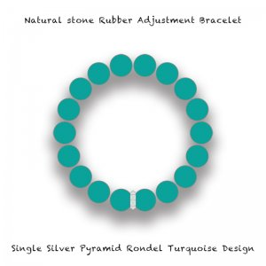 【 Natural Stone Rubber Adjustment Bracelet /  Single Silver Pyramid Rondel Turquoise Design 】