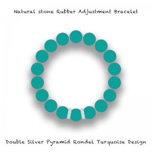 【 Natural Stone Rubber Adjustment Bracelet /  Double Silver Pyramid Rondel Turquoise Design 】