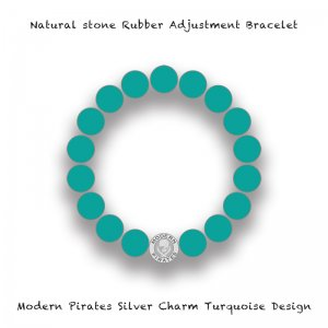 【 Natural Stone Rubber Adjustment Bracelet /  Modern Pirates Silver Charm Turquoise Design 】