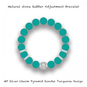 【 Natural Stone Rubber Adjustment Bracelet /  MP Silver Charm Pyramid Rondel Turquoise Design 】
