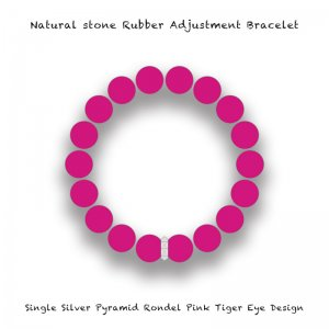 【 Natural Stone Rubber Adjustment Bracelet /  Single Silver Pyramid Rondel Pink Tiger's Eye Design 】