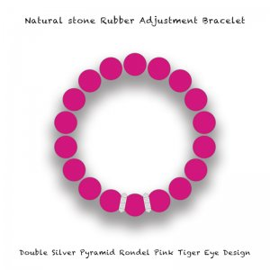 【 Natural Stone Rubber Adjustment Bracelet /  Double Silver Pyramid Rondel Pink Tiger's Eye Design 】