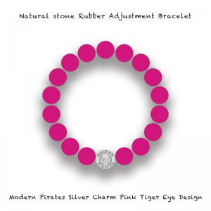 【 Natural Stone Rubber Adjustment Bracelet /  Modern Pirates Silver Charm Pink Tiger's Eye Design 】
