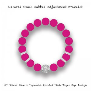 【 Natural Stone Rubber Adjustment Bracelet /  MP Silver Charm Pyramid Rondel Pink Tiger Eye Design 】