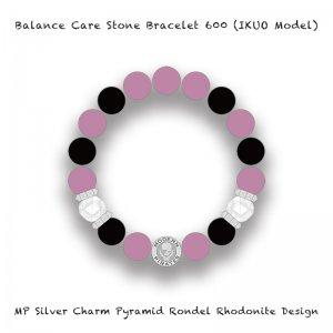 【 Balance Care Stone Bracelet 600 / MP Silver Charm Pyramid Rondel Rhodonite Design (IKUO Model) 】