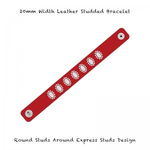 <img class='new_mark_img1' src='//img.shop-pro.jp/img/new/icons13.gif' style='border:none;display:inline;margin:0px;padding:0px;width:auto;' />【 20mm Width Leather Studded Bracelet / Round Studs Around Express Studs Design 003 】