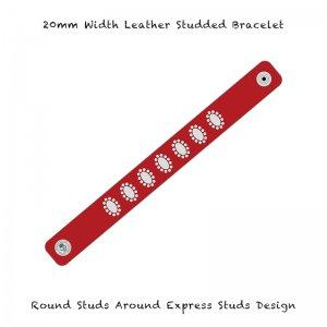 【 20mm Width Leather Studded Bracelet / Round Studs Around Express Studs Design 003 】