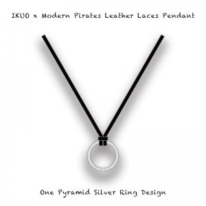 【 IKUO x Modern Pirates Leather Laces Pendant / One Pyramid Silver Ring Design 】