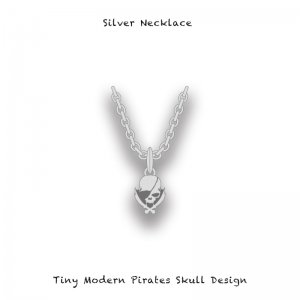 【 Silver Necklace / Tiny Modern Pirates Skull Design ( Pure Silver Chain ) 】