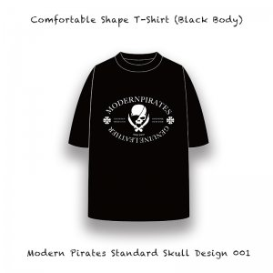【 Comfortable Shape T-Shirt / Modern Pirates Standard Skull Design 001 (Black Body) 】
