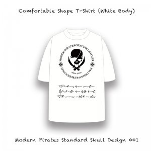 【 Comfortable Shape T-Shirt / Modern Pirates Standard Skull Design 001 (White Body) 】