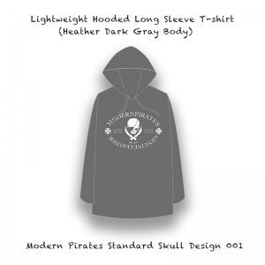 <img class='new_mark_img1' src='//img.shop-pro.jp/img/new/icons13.gif' style='border:none;display:inline;margin:0px;padding:0px;width:auto;' />【 Lightweight Hooded Long Sleeve T-shirt / Modern Pirates Standard Skull Design 001 (Gray Body) 】