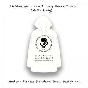 <img class='new_mark_img1' src='//img.shop-pro.jp/img/new/icons13.gif' style='border:none;display:inline;margin:0px;padding:0px;width:auto;' />【 Lightweight Hooded Long Sleeve T-shirt / Modern Pirates Standard Skull Design 001 (White Body) 】