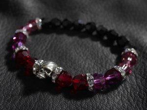 SKULL & BALL SWAROVSKI BEADED BRACELET(8MM)