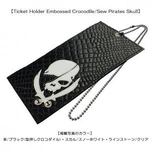 Ticket Holder Embossed Crocodile/Sew Pirates Skull