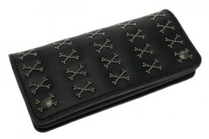 Arranged Cross Bone Studs Long Wallet