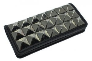 Aligned Large Pyramid Studs Long Wallet