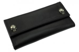 W-Pirates Skull Studs Long Wallet/Soft Leather
