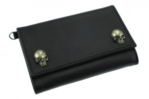 W-Pirates Skull Studs Middle Wallet/Soft Leather