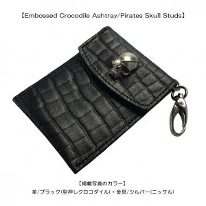 Embossed Crocodile Ashtray/Pirates Skull Studs