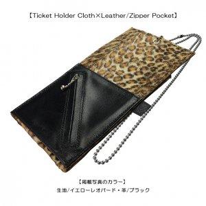 Ticket Holder Cloth×Leather/Zipper Pocket