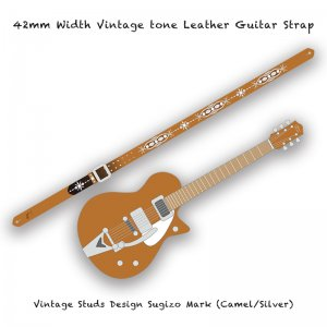 【 42mm Width Vintage tone Leather Guitar Strap / Vintage Studs Design 002 】( SUGIZO Model )