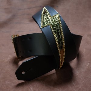 50mm Width Leather Guitar Strap/Thunder Studs Design