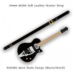 【 50mm Width Soft Leather Guitar Strap / HISASHI Mark Studs Design (Gold) 】( HISASHI Model )