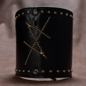Genuine Leather Armband/HISASHI Mark Studs Design(Gold)