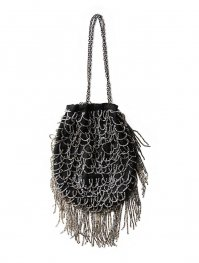 1920s VICTORIAN BLACK BEADWORK DRAWSTRING BAG PURSE